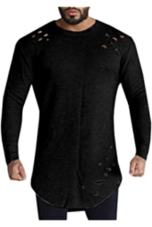 Hombres Camisetas Casual Plain Pullover Ripped Hoyos Camiseta De Manga Larga