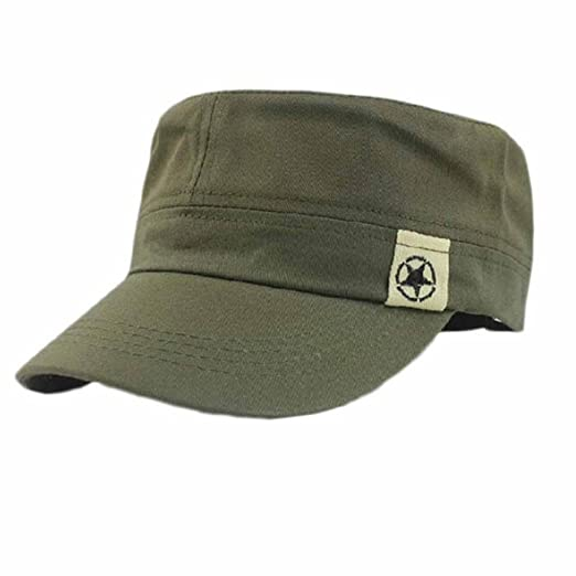 a1fc26219d784a Amazon.com: Flat Roof Military Hat USA Military Style Distressed Washed  Cotton Cadet Army Caps (Army Green): Clothing