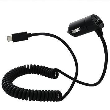 XiRRiX Auto/Coche Teléfono Móvil cable de carga para el encendedor de cigarrillos/tipo C/3 Amperio/1,8 m de largo/espiral/Cargador De Coche Negro