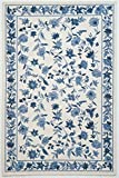 "KAS Oriental Rugs Colonial Collection Floral Area Rug, 5'3"" x 8'3"", Ivory/Blue"