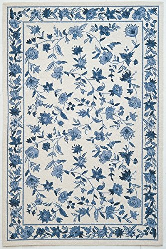 KAS Oriental Rugs Colonial Collection Floral Area Rug, 5 3 x 8 3 , Ivory Blue