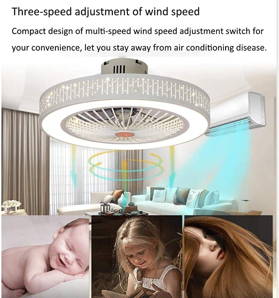 Ventilatore nordico moderno lampadario minimalista ventilatore a soffitto LED dimmerabili ventilatore rotondo ultra-silenzioso risparmio energetico da letto e camera da letto si illumina 56 centimetri,r