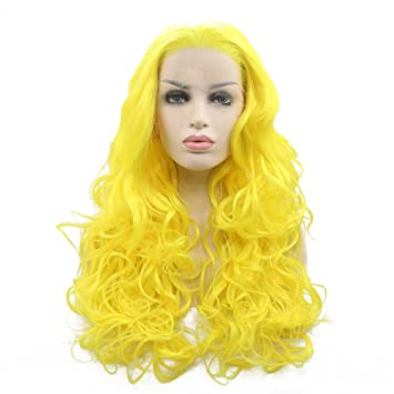 Amazon.com : Wavy Wig Curly Bright Yellow