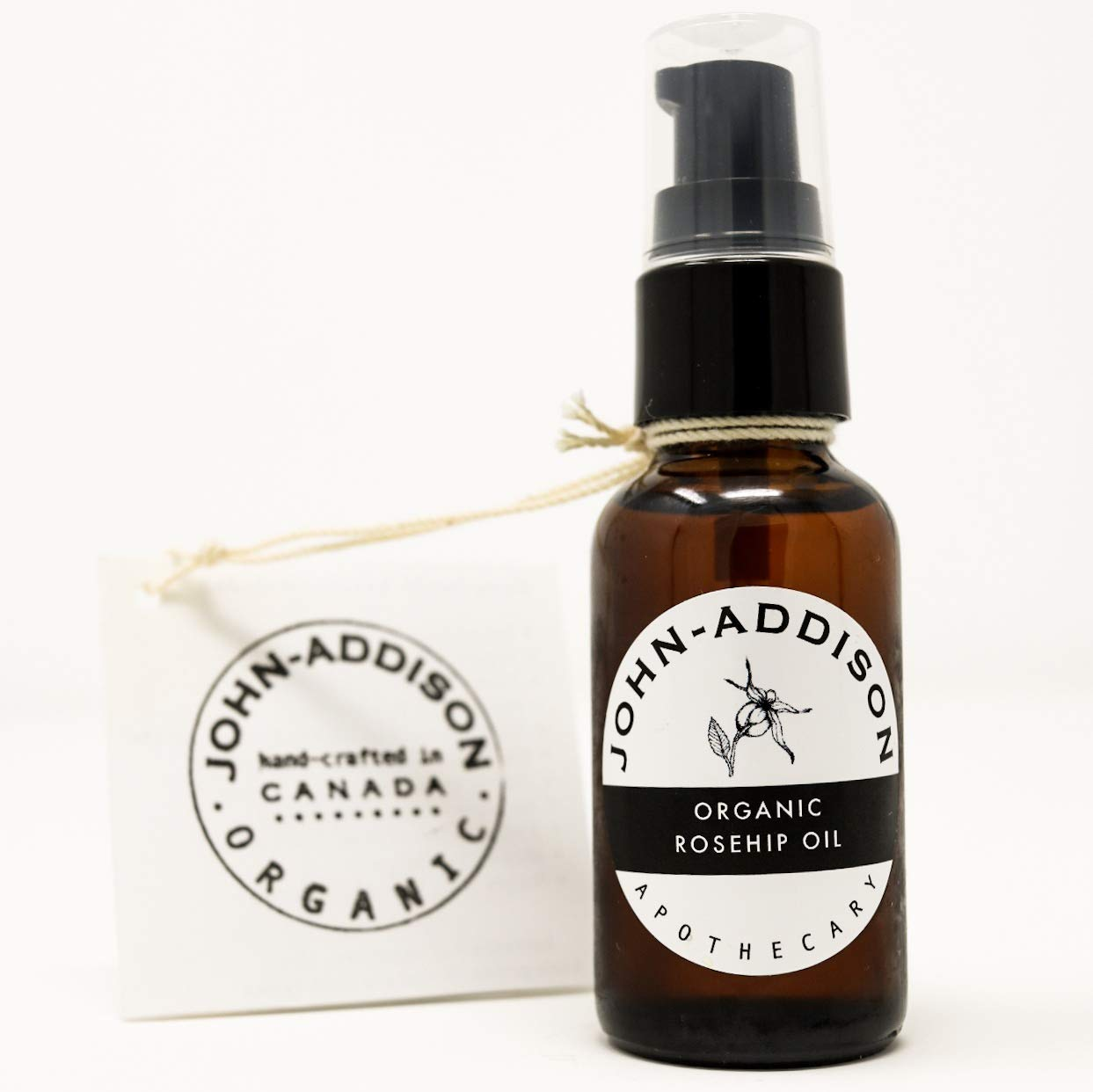 ORGANIC ROSEHIP OIL by JOHN ADDISON - Cold Pressed Carrier Oil - Face Body Hair Cuticles - Prevents Stretch Marks - Treats Dry Irritated Ashy Looking Skin - Hydrates Moisturizes Softens Smooths Soothes - Non Scented - Amber Glass Bottle - 30ml