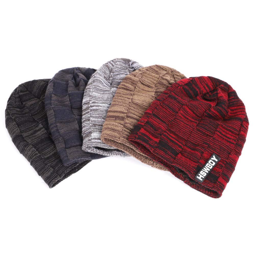 Brand Solid Color Knit Beanies Hat ScarfVelvet Winter Hat Man Woman Warm Thicken Hedging Cap Ski Soft Scarves@Navy