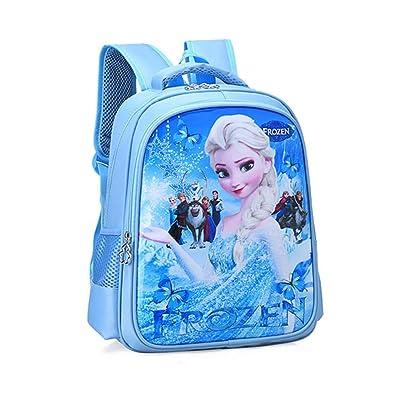 BIGMENG Blue Frozen Elsa School Backpack Bag for Girls Disney Cartoon Student Bookbag for Toddler | Kids' Backpacks