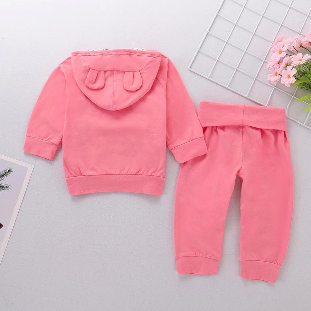 Pants squarex Baby Clothes Sets Boys Girls Solid Hoodie Cartoon Ears Tops