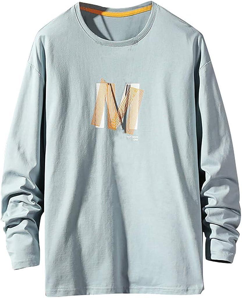 Camiseta para Hombre, Camisetas Manga Larga Algodón Cuello Redondo ...