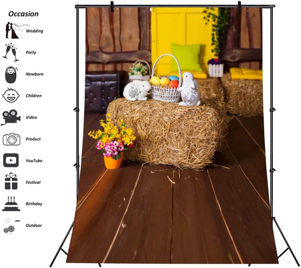 Yeele-Easter-Backdrop 8x10ft Happy Easter Photography Background Eggs Rabbit Brown Wooden Plank Photo Backdrops Pictures Studio Props Wallpaper