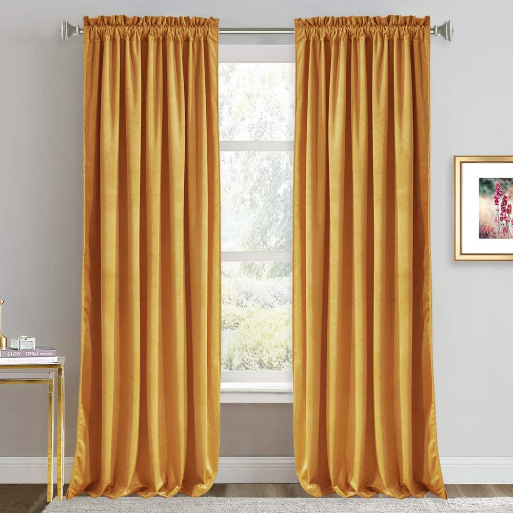 Amazon Com Ryb Home Velvet Curtains 84 Inches Super Soft Home Decor Room Darkening Curtains For Living Room Thermal Insulated Velvet Drapes For Bedroom Nursery 52 X 84 Inch Warm Gold 1