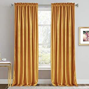 RYB HOME Velvet Curtains 96 inches - Luxury Room Darkening Curtains for Living Room Thermal Insulated Panels for Large Window Home Decor Backdrop Soft Drapery for Bedroom, 52 x 96, Warm Gold, Set of 2