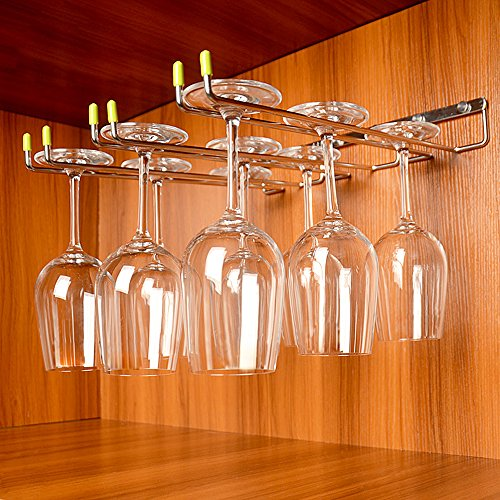 GeLive Wine Glass Rack Stemware Holder Wall Mounted Wine Glass Hanger Stainless Steel Kitchen Bar Storage 3 Rows by GeLive