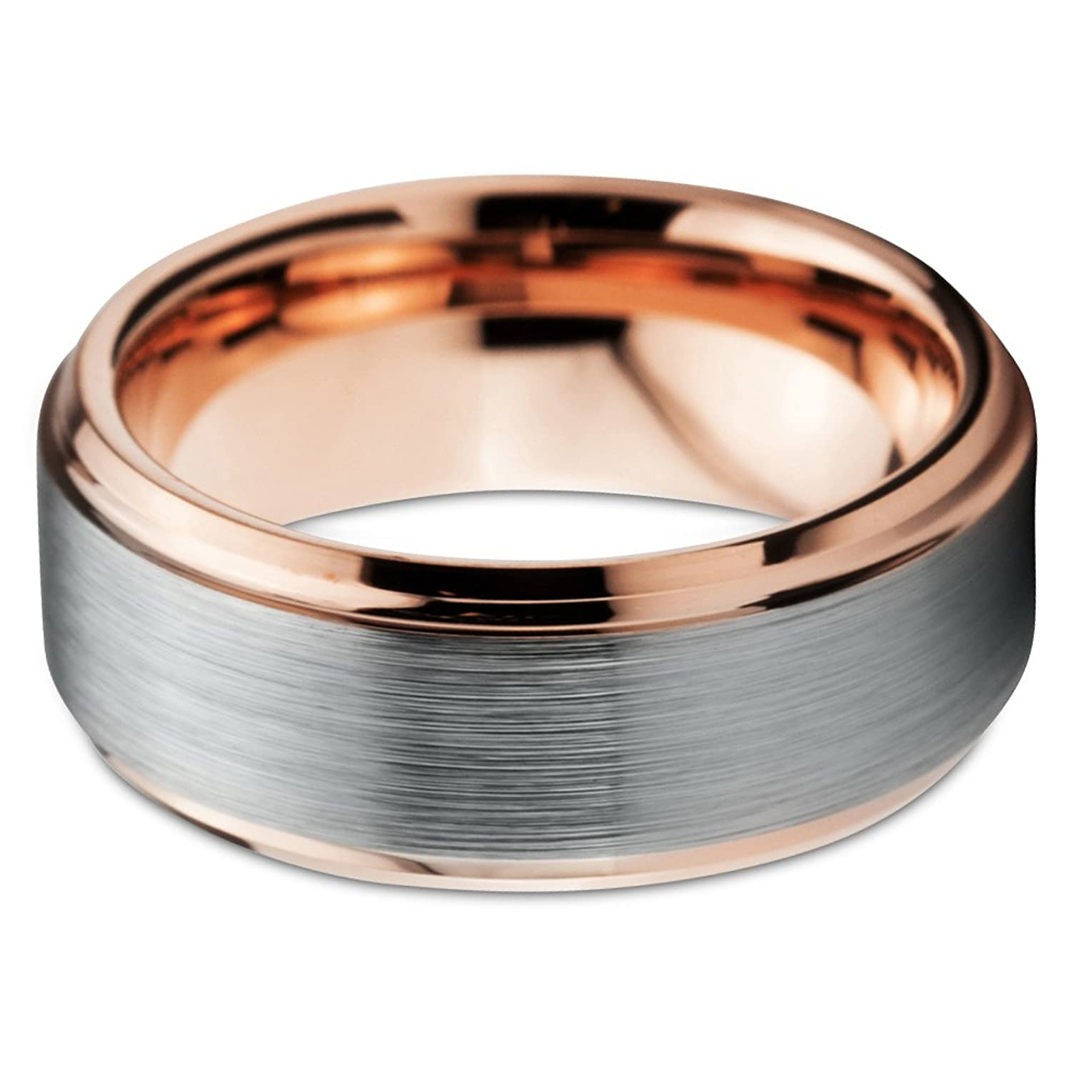 tungsten wedding band ring 8mm for men women comfort fit 18k rose