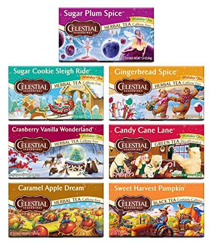 Peaceful Squirrel Variety,Celestial Seasonings, Holiday Tea Variety Sampler, Pack of 7 (20 Tea Bags Each)