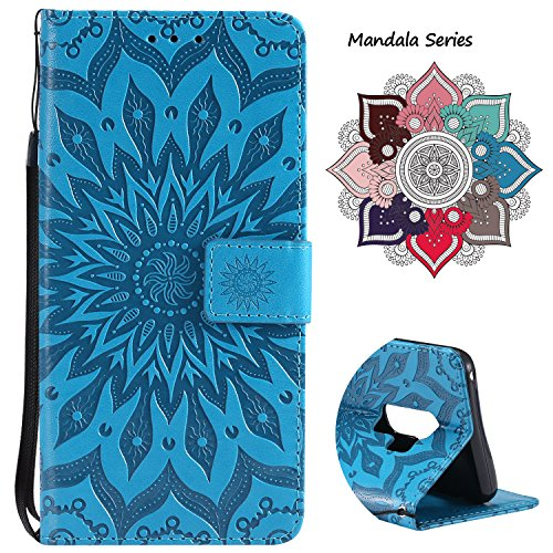 Leather Wallet Case for Samsung Galaxy S9 Plus (2018 Release), Credit Cards & Changes Holder, Colorful Art Mandala Design, Magnetic Durable Flip Cover Kickstand case for S9 Plus(6.2 inch)-Blue