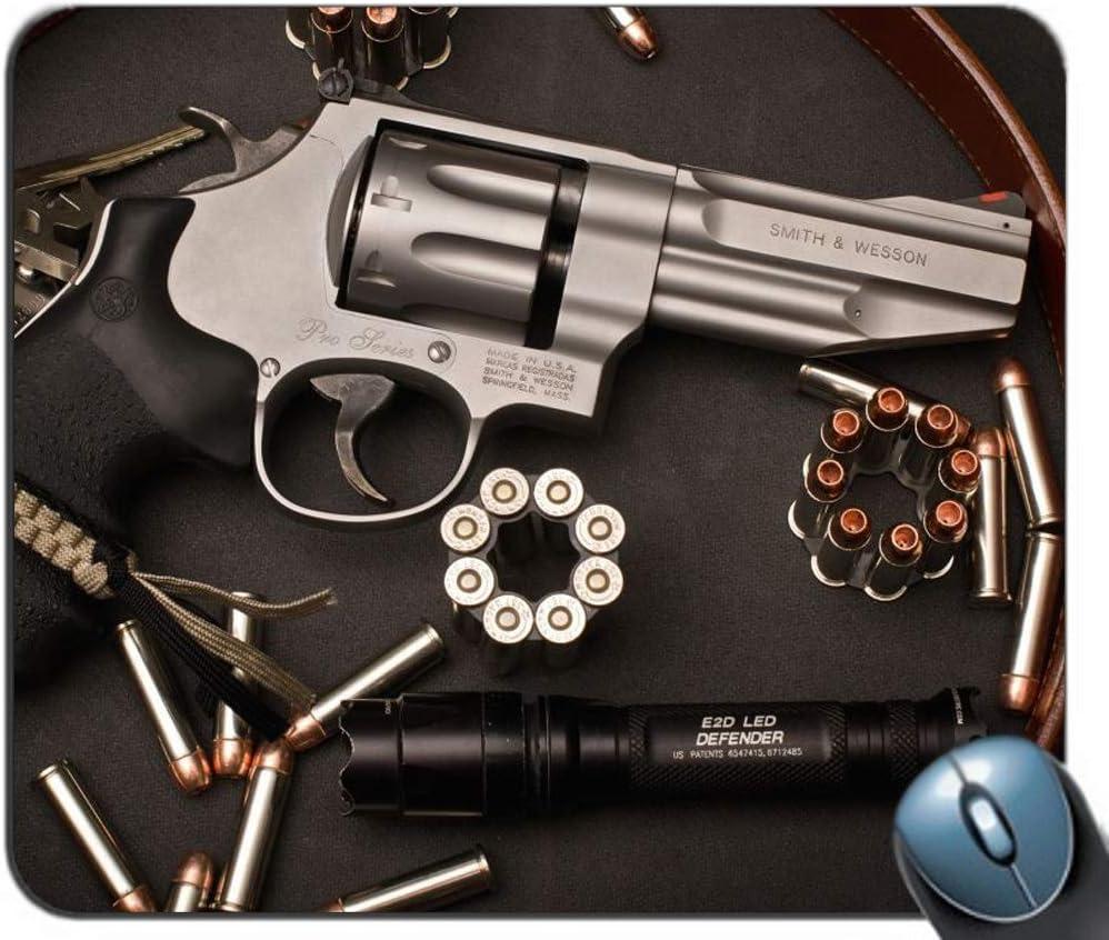 Revólver Balas Municiones Munición Armas Arma Pistola Antideslizante Goma Mousepad Gaming Mouse Mat Alfombrilla de ratón