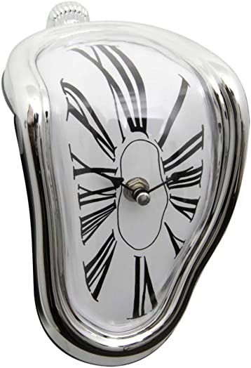 GKanMore Melting Clock Creative Retro Salvador Dali Watch Melting Clock Twisted Clock for Home Office Table Desk Corner Decoration, Silver