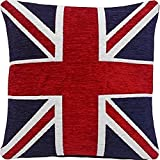 """2 X FILLED THICK HEAVYWEIGHT CHENILLE RED WHITE BLUE UNION JACK 18"""" CUSHION"""