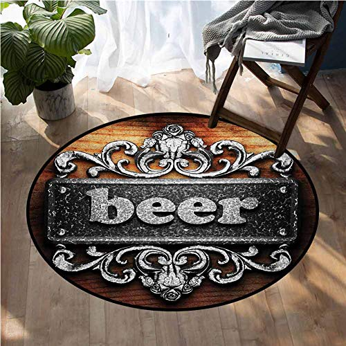 Manly Floor mats for Trucks Silver Word on Ornament Beer Text Wooden Background Ancient Interior Rustic Art Indoor Round Area Rug D60 Inch (Rugs Sensation Tayse)