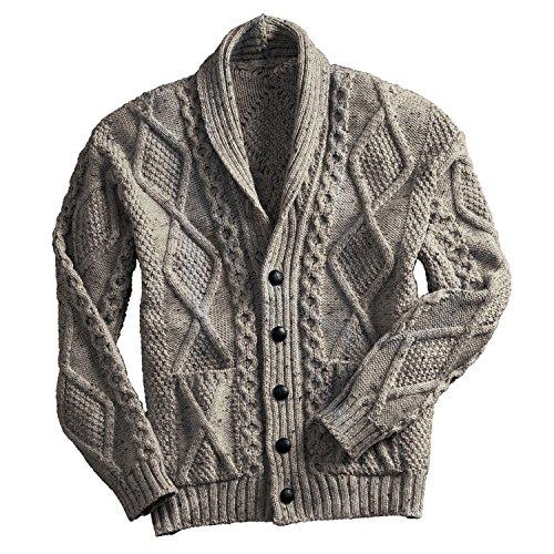 Irish Aran Knitwear 100% Irish Merino Wool Men's Shawl Neck Cardigan Sweater with Pockets (Oatmeal, X-Large)