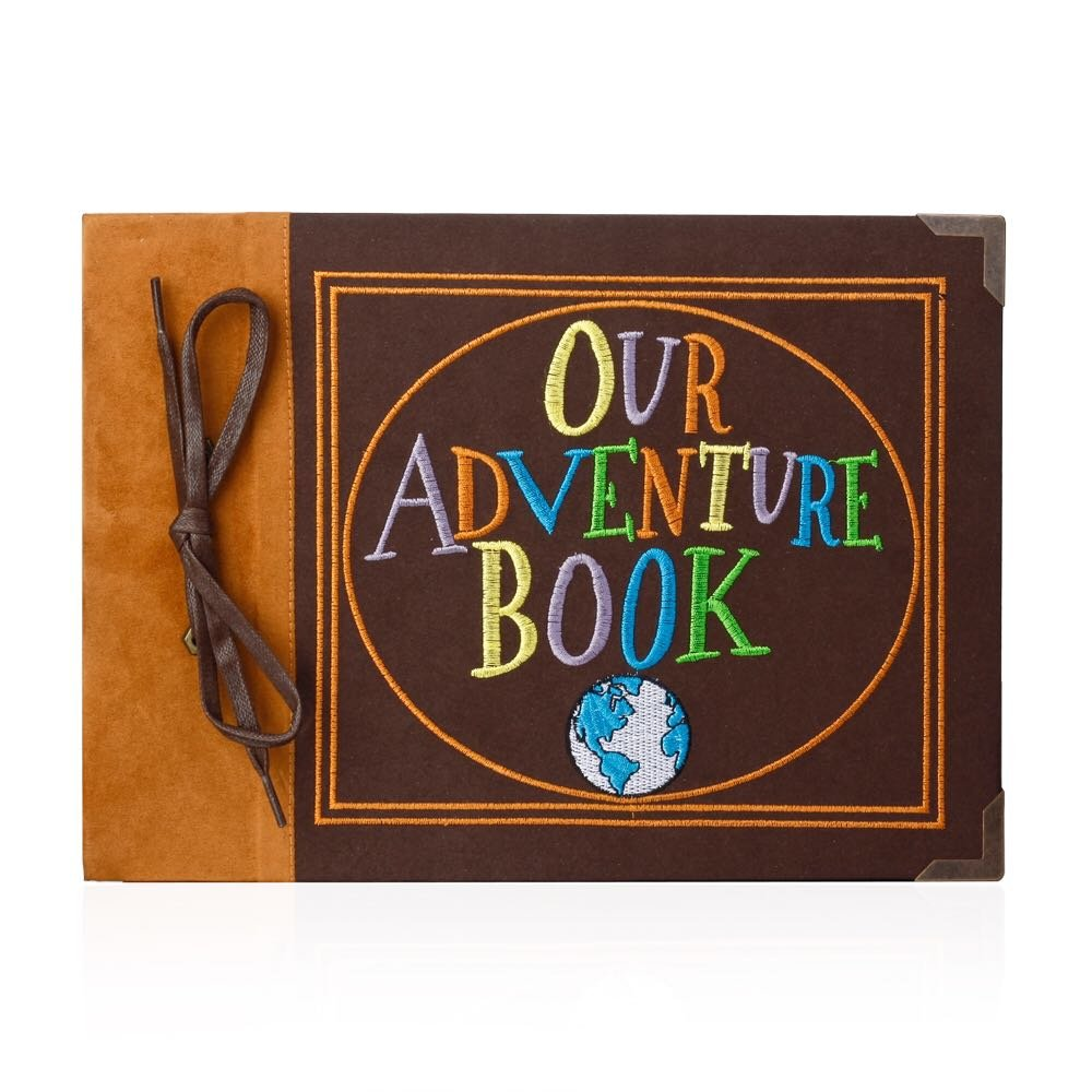 T-HAOHUA Our Adventure Book Photo Album Scrapbook : Anniversary And Wedding Memory Book With Embroidered Leather Hard Cover – Thread-Bound Book With Thick White Paper Sheets For Photographs 4336978035