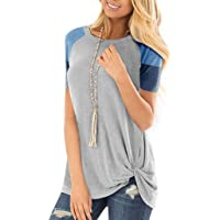 ASERTYL Striped Short Sleeve T-Shirt for Women Loose Comfy Casual Blouse Tops