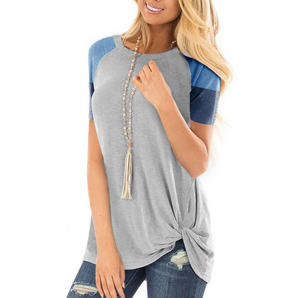 Deals! Women's Casual Color Block Short Sleeve Tops Loose Knotted Lightweight Tunic Blouse