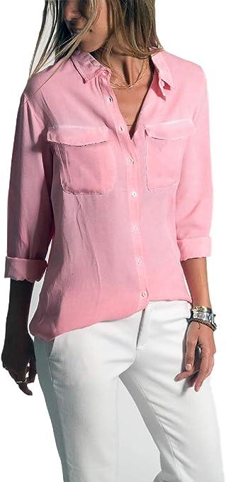 Fuxitoggo Blusa de Encaje de Manga Larga con Camisa de ocasión elástica para Mujer, Rosa, Large: Amazon.es: Hogar