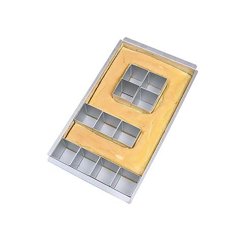Baker Boutique Molde de Aluminio Antiadherente para Tartas, Molde para Tartas, Alfabeto con diagramas