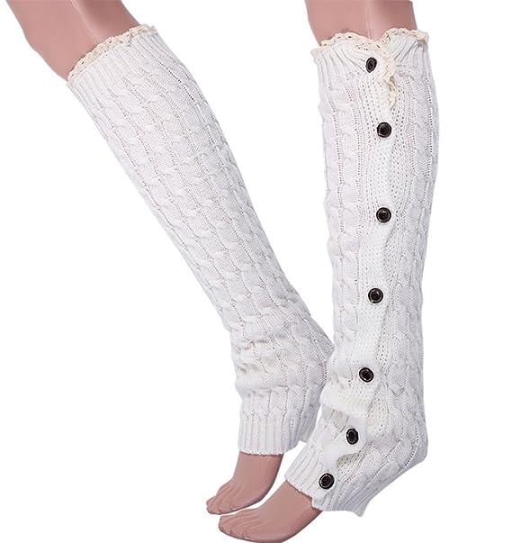 ANDI botón de pantalones de deporte para mujer diseño de rosas borde y de bellos colores calentadores calcetines de punto para: Amazon.es: Ropa y accesorios