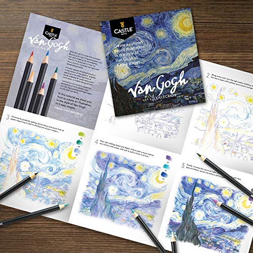 Castle Arts Themed 24 Colored Pencil Set in Tin Box, perfect 'Van Gogh' inspired colors. Featuring, smooth colored cores, superior blending & layering performance for great results