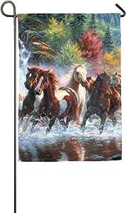 Davis Relev 7 Horses Welcome Flag Patio Garden Flag Decor 12 Inch X 18 Inch