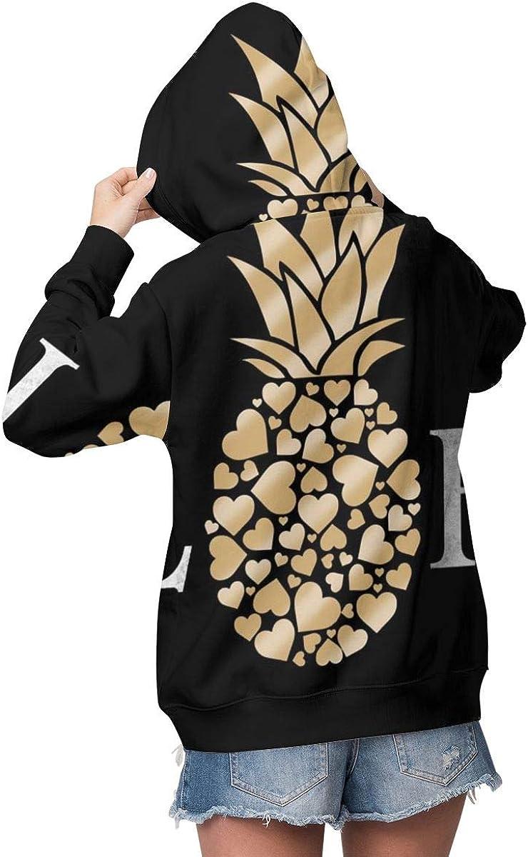 Aloha Pineapple Black Womens Long Sleeve Pullover Hooded Sweatshirt Top Hoodie with Fleece Lining