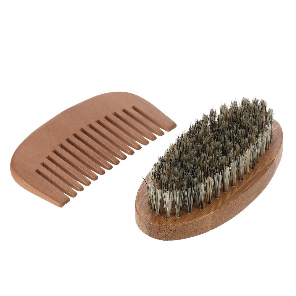 Anself Men's Beard Brush & Comb Kit, Boar Bristles Mustache Shaving Brush + Bamboo Beard Comb