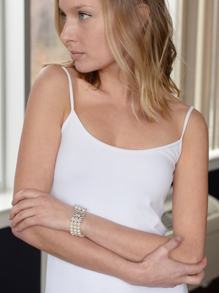 Mariell Genuine Freshwater Pearl 3-Strand Bridal Bracelet - Luxe 3-Row Pearl Bracelet with CZ Clasp by Mariell (Image #4)