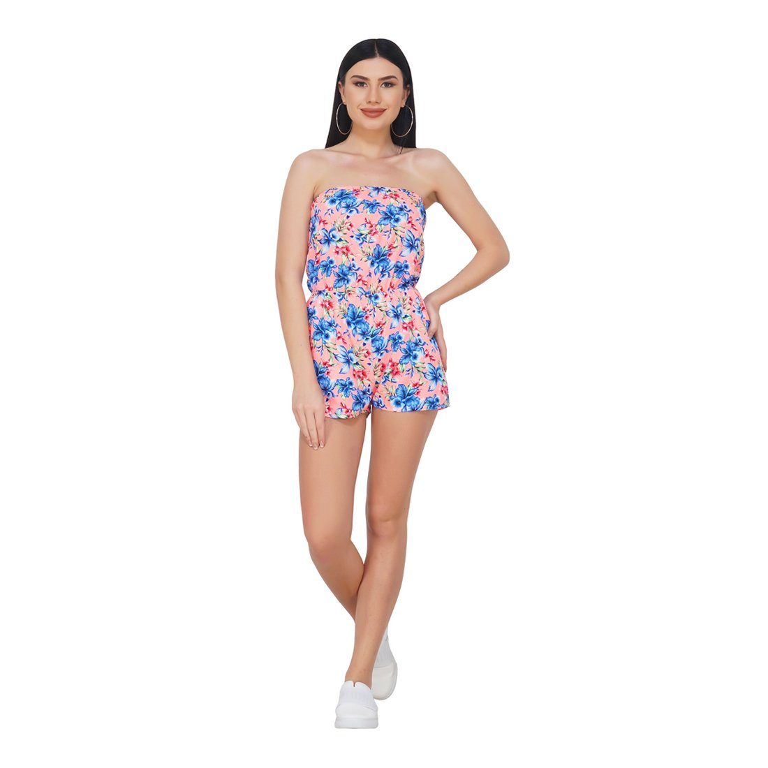 Buy Super Rico Strapless Floral Printed American Crepe Short Jumpsuit Casual Summer Wear Bodysuit For Women Western Dresses For Girls Xl At Amazon In
