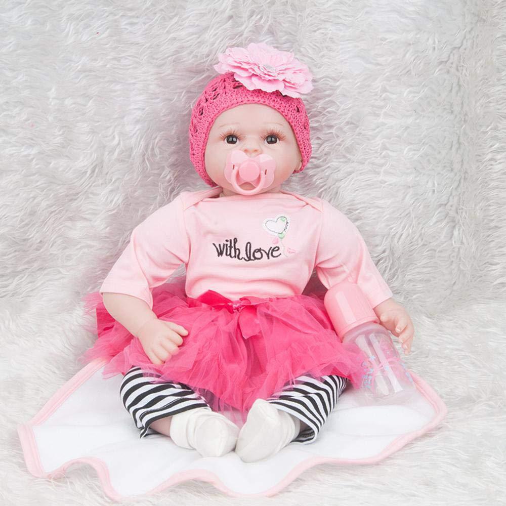 Hongge Reborn Baby Doll,Simulation Baby Silikon Wiedergeburt Wiedergeburt Wiedergeburt Puppe Lebensechte Neugeborene Puppe Spielzeug Geschenk 55cm 72b03f