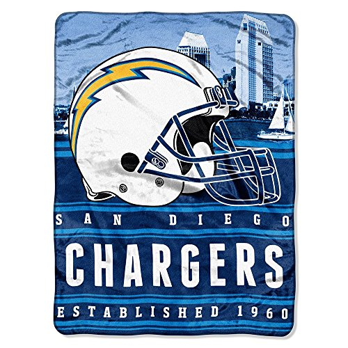 San Diego Chargers Bedding - The Northwest Company NFL San Diego Chargers Stacked Silk Touch Blanket, 60-Inch by 80-Inch by The Northwest Company