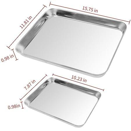 2 unidades para galletas bandeja de horno, kuorle Pure acero inoxidable comercial Bakeware Set & antiadherente de horno para horno tostadora, no tóxico, ...