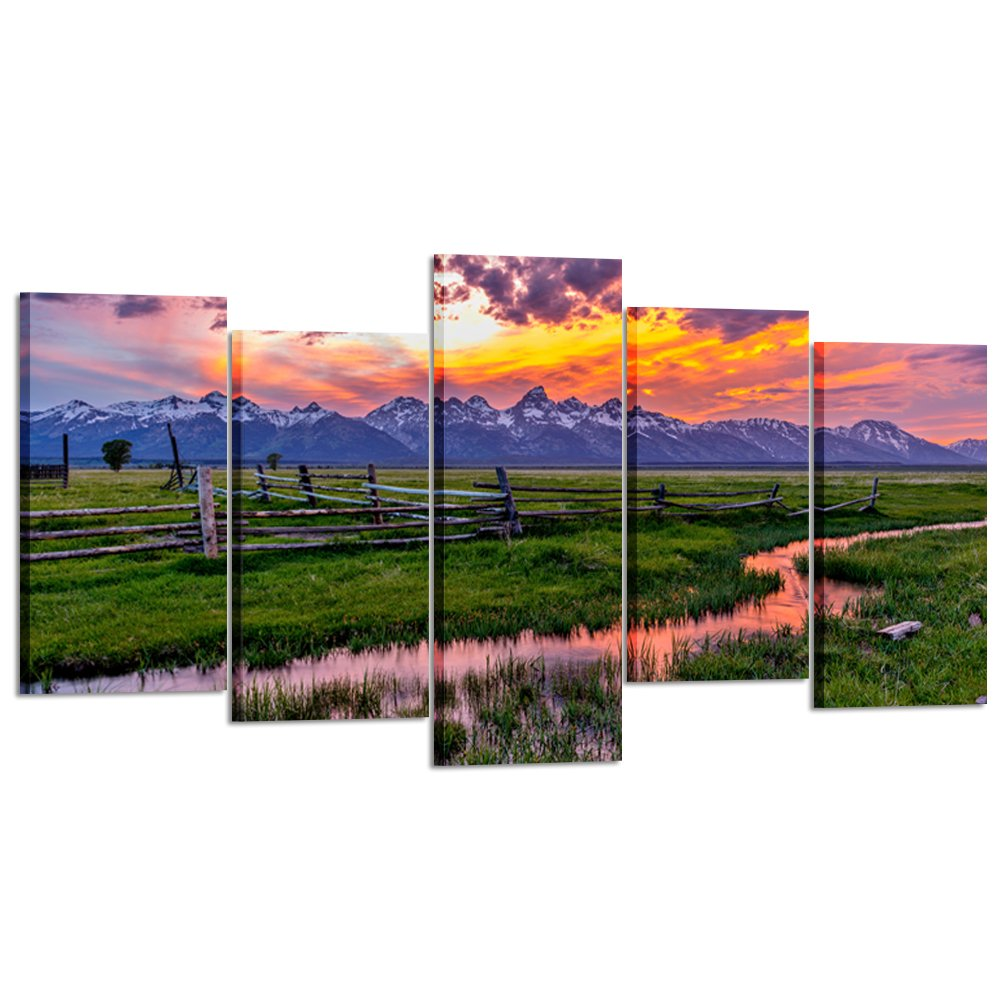 Kreative Arts - 5 Pieces Grand Teton National Park USA Landscape Wall Art Canvas Print Sunset Nature Picture Modern Home Decor Stretched and Framed Ready to Hang (Large Size 60x32inch)