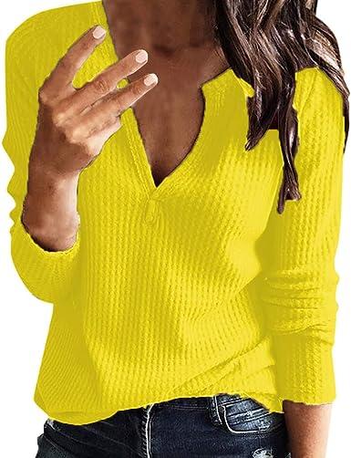 JiaMeng Camiseta de Manga Larga para Mujer Blusa Informal de ...