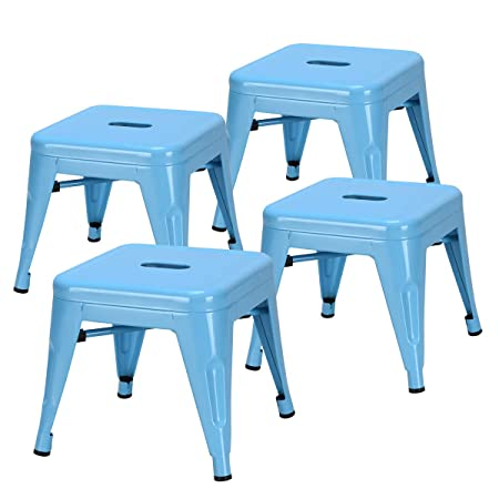 COSTWAY Kids Metal Stools Steel Barstools Vintage Antique Style Counter Bar Stool Blue, Set of 4