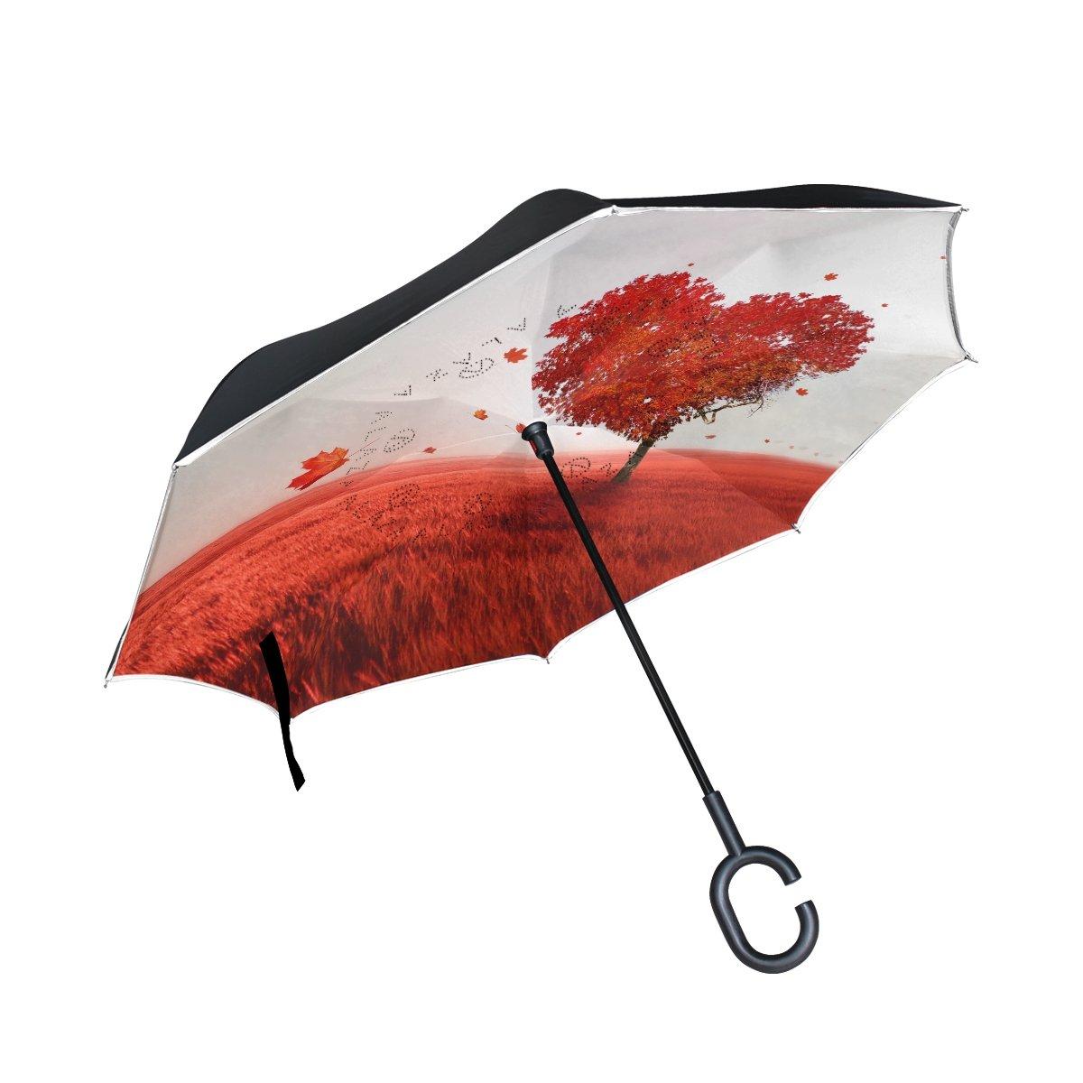 Alaza愛のツリーハートInverted傘二層防風Reverse折り畳み傘for Car with c-shapeハンドル   B076CF3Z82