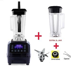 Automatic Digital Smart Timer Program 2200W Heavy Duty Power Blender Mixer Juicer Food Processor Ice Smoothie Bar Fruit,Black jar full parts,AU Plug