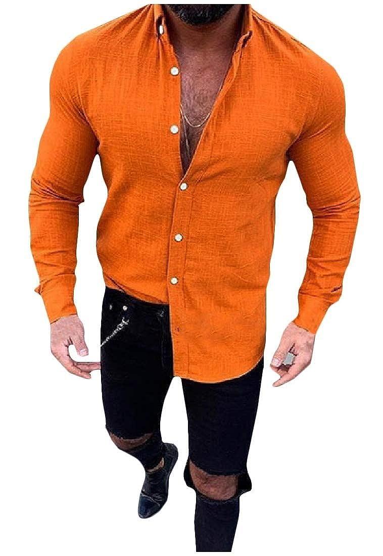 Vska Men Lapel Long Sleeve Button Down Pure Color Plus Size Linen Tops Shirt