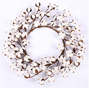 """Real Cotton Wreath - 18""""- 23"""" Adjustable Stems for Front Door Festival Hanging Decorations Welcome Decor Made from Natural White Cotton Flowers Bolls"""