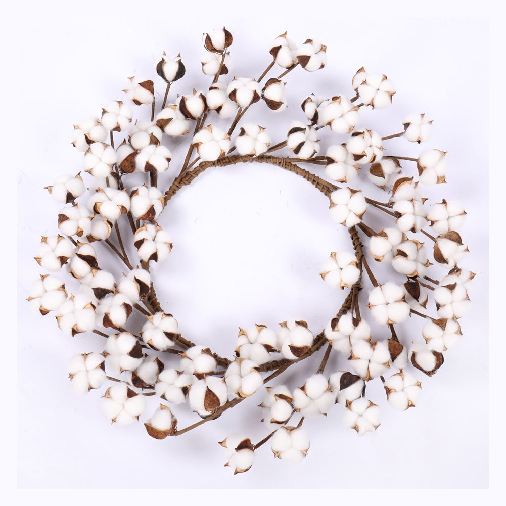Real Cotton Wreath - 18''- 23'' Adjustable Stems for Front Door Festival Hanging Decorations Welcome Decor Made from Natural White Cotton Flowers Bolls by Darget