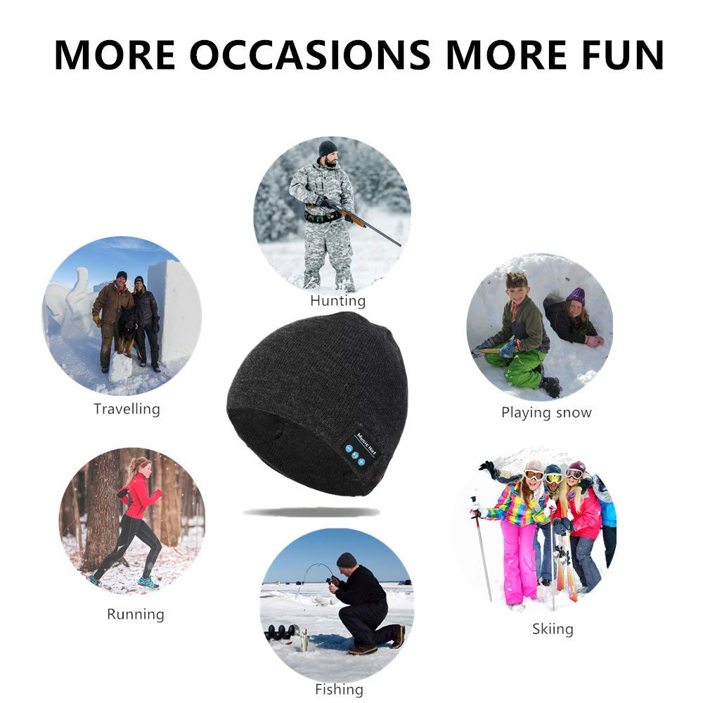 Pardecor Wireless Hat Bluetooth Beanie, Knit Music Cap with V5.0 Headphones Headset for Outdoor Running Skiing Camping Hiking, Unique Christmas Tech Gifts for Women Mom Her Men Teens Boys Girls Mens by Pardecor