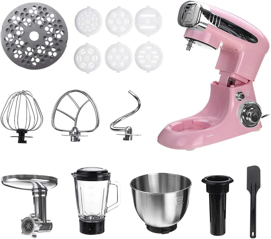 YYBF Standmixer 6 Geschwindigkeits-Multifunktions-Elektro Lebensmittel Blender Mixer 1000W Fleischwolf Food Processor Teige Beater Küchenhelfer,Schwarz Pink