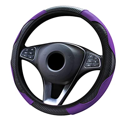 Xmomx Steering Wheel Cover Microfiber Leather Anti-Slip Universal Car Steering Wheel Cover Faux Leather no Inner Ring for Car Accessories Auto Car Without Inner Ring (Purple): Automotive